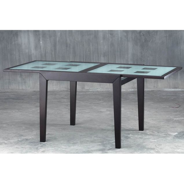 Spring dining table with frosted checkered glass extension top cincinnati ohio ml1409319 - Frosted glass dining tables ...
