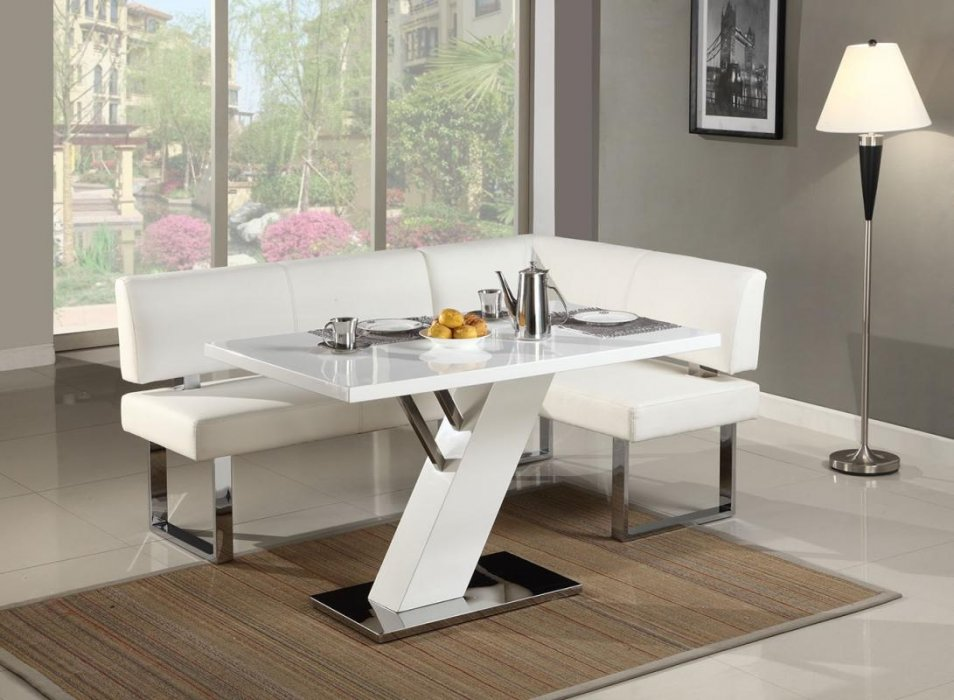 Stylish High Gloss White And Chrome Dining Table Cleveland Ohio CHLIN