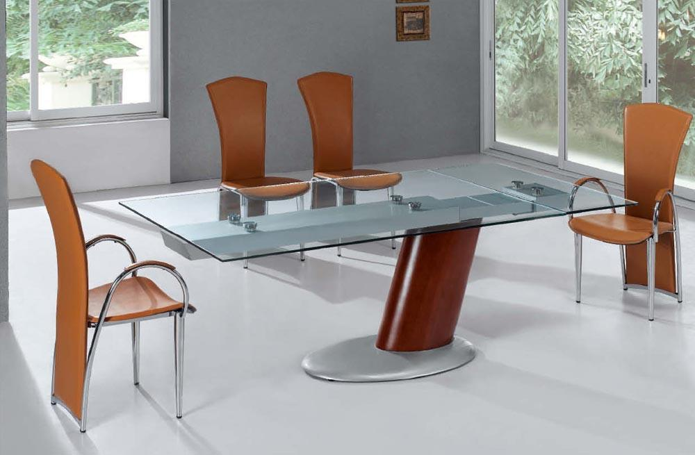Comet Glass Contemporary Extendable Dining Table With Metal Base
