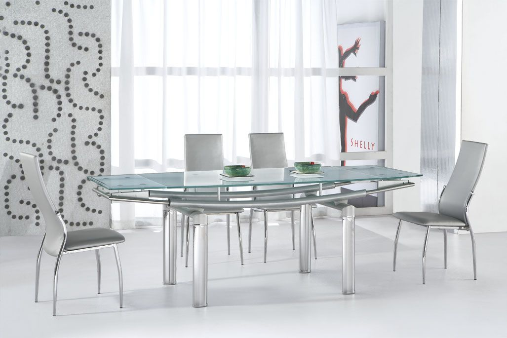 Serenity ultra contemporary glass and tube dining room table austin texas esftl365edt - Dining room table contemporary ...