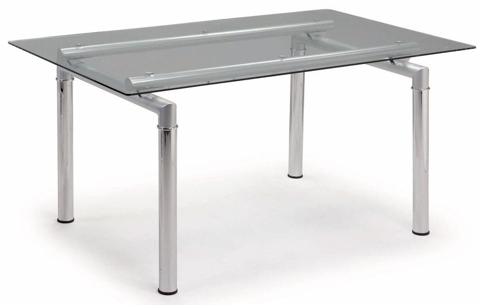 Tempered glass dining table with chromed metal legs grand for Dining table with metal legs