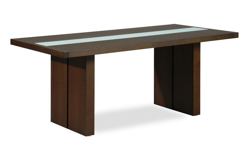 Contemporary rectangular dining table with glass stripe for Contemporary rectangular dining table
