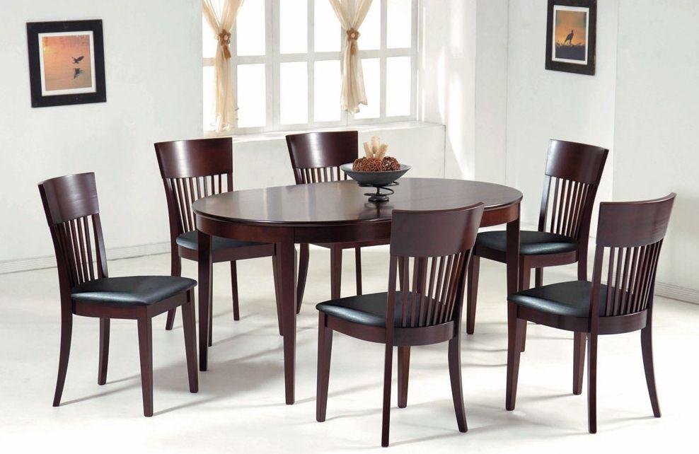 Oval Shaped Dark Walnut Rubberwood Dining Table Concord California NSCAFE33