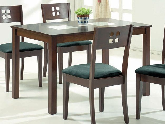 Contemporary wooden dining table with square glass inserts for Latest wooden dining table designs with glass top