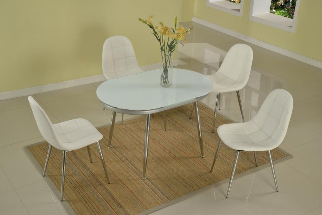 Oval Extendable Frosted Glass Dining Table Larger Image