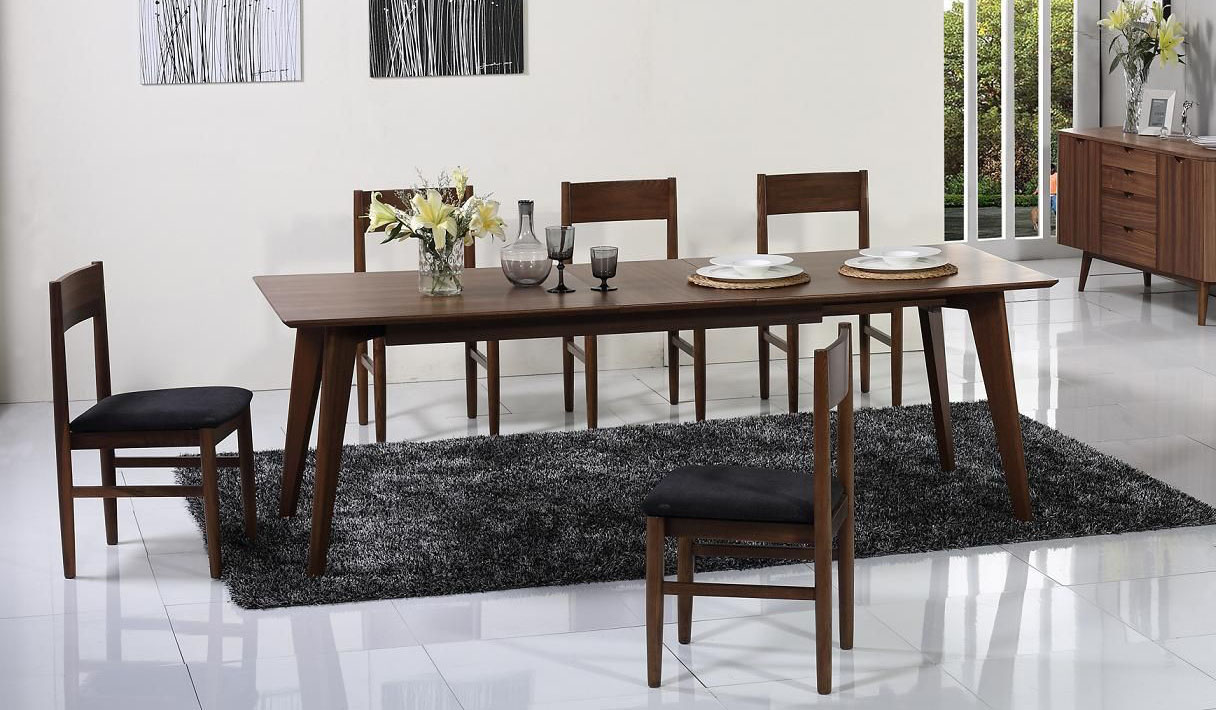 Mid century style walnut extendable dining table buffalo - Dining room furniture buffalo ny ...