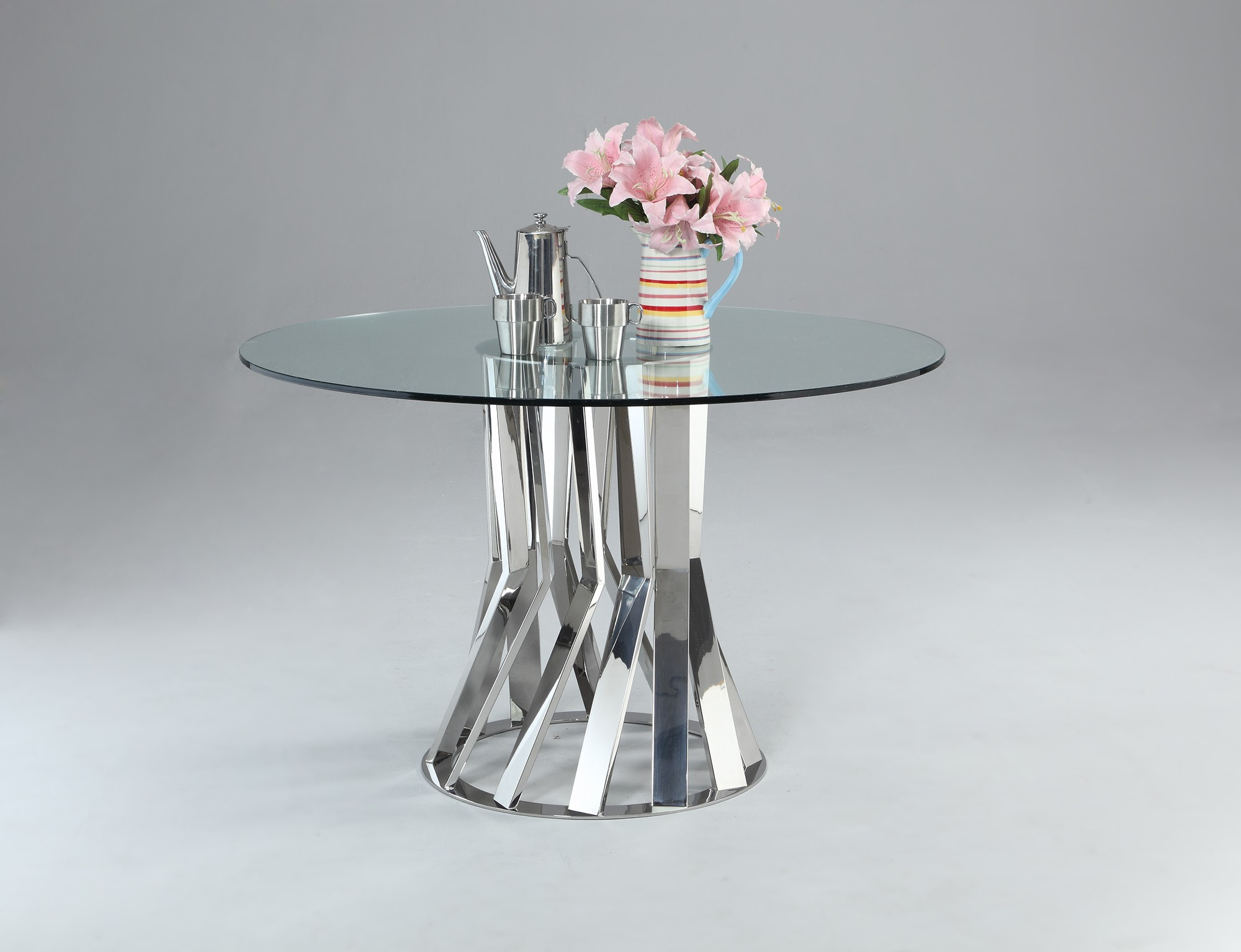 Round Table Lincoln.Glass And Chrome Round Dining Table With Unique Base
