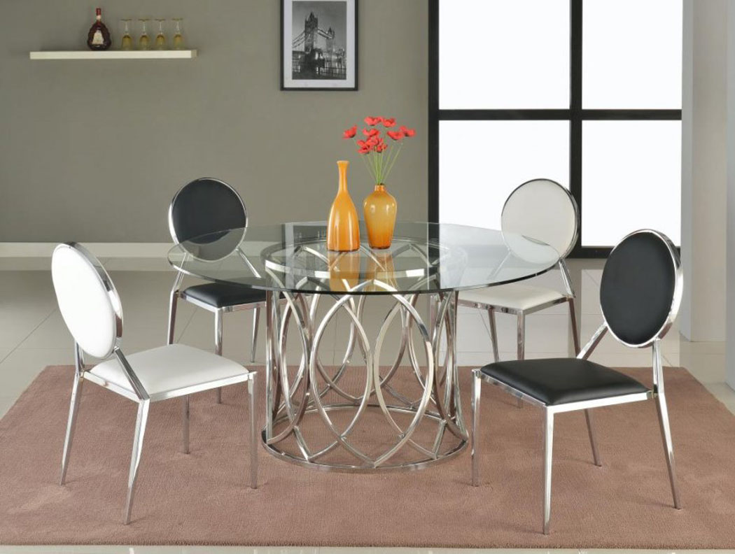 Round glass dining table with steel base san antonio texas for Steel dining table design