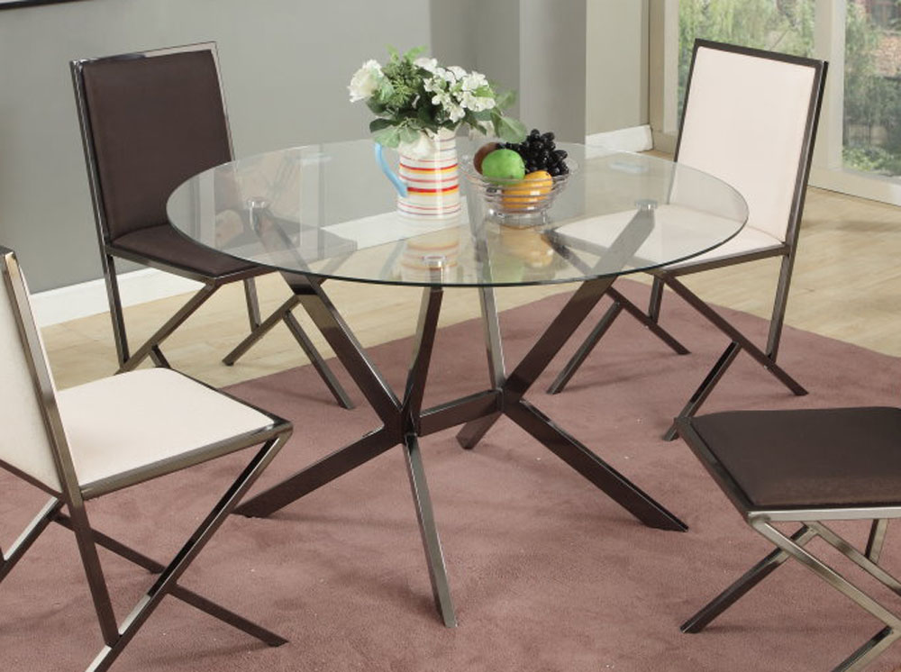 Contemporary beveled edge round modern glass dining table for Contemporary dining table decor
