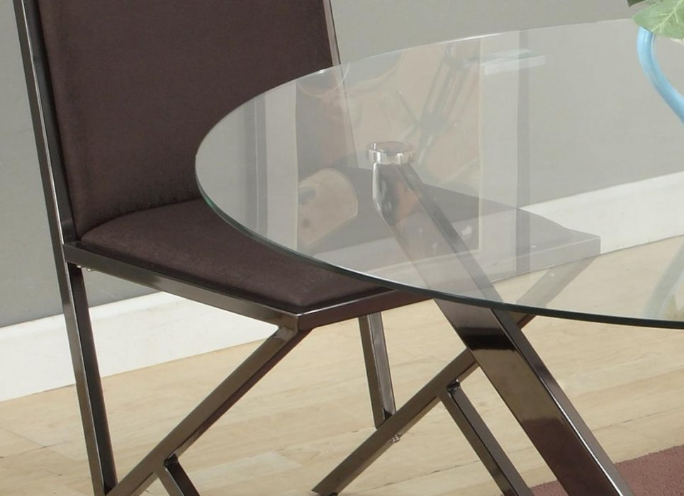 Contemporary Beveled Edge Round Modern Glass Dining Table Los Angeles Califor