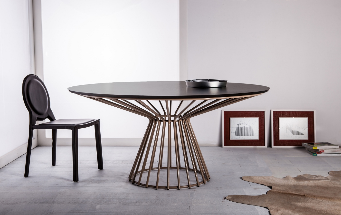 Contemporary round white dining table louisville kentucky for Modern large round dining table