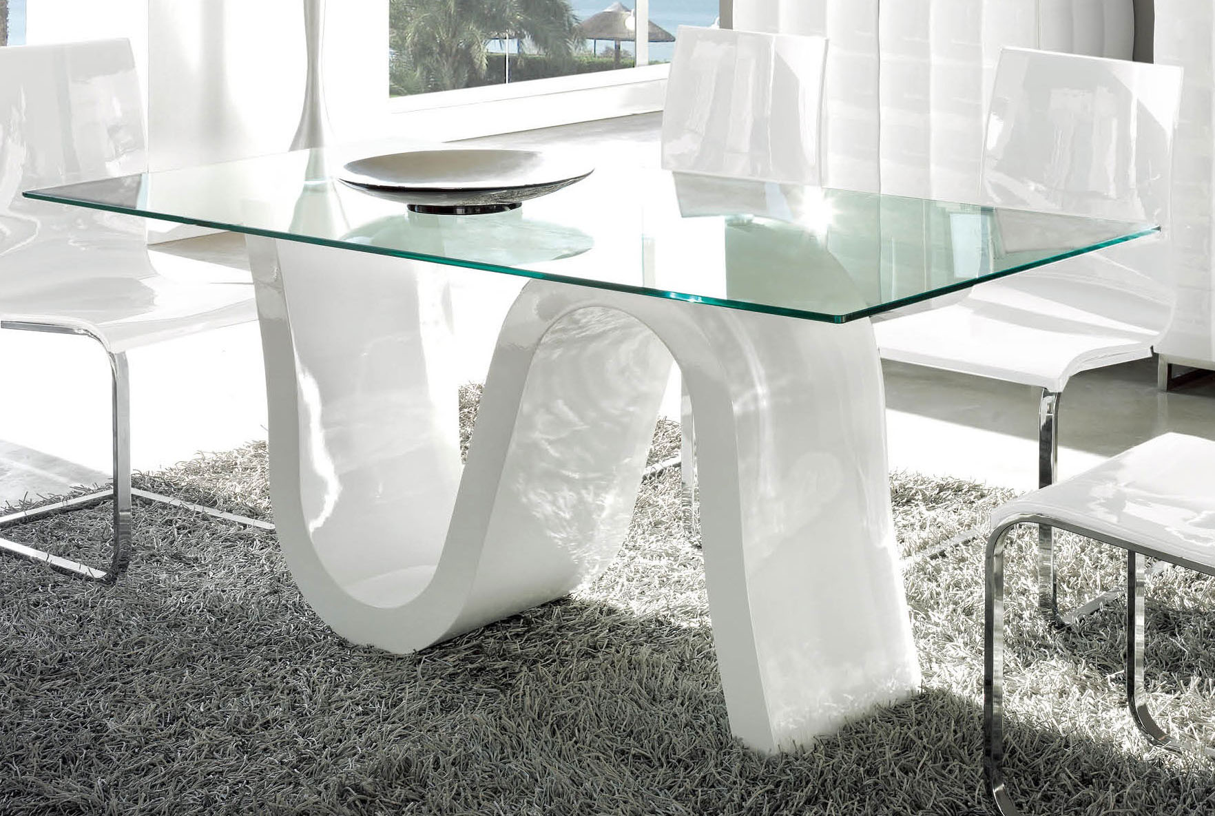 Gloss white spain made dining table with rectangular glass - White table with glass top ...