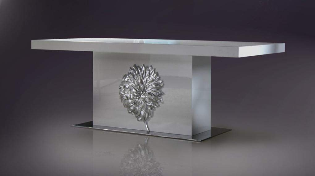 Rectangular White Lacquer Contemporary Dining Table With Stylish Base