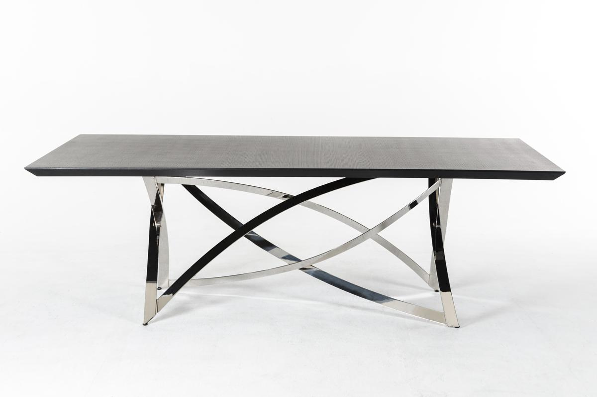 Ultra contemporary wenge dining table with unique steel for Dining table base
