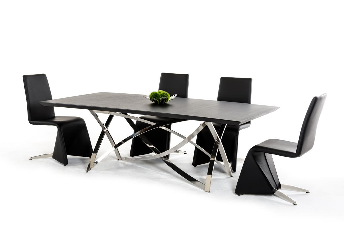 Ultra contemporary wenge dining table with unique steel for Modern dining table and chairs