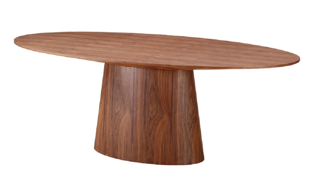 Sharp Contemporary Walnut Finished Dining Table With Sturdy Base Los Angeles