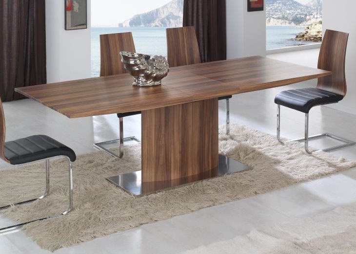 Spain made walnut dining table with pedestal support for Dining table support
