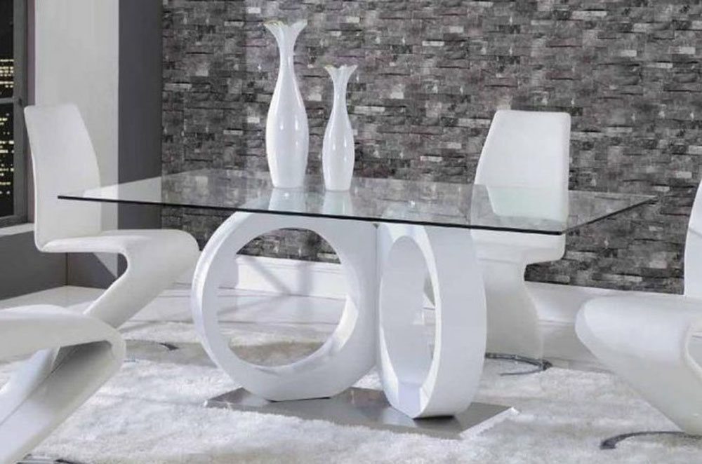 White dining table with unique glossy base sacramento for Unusual glass dining tables