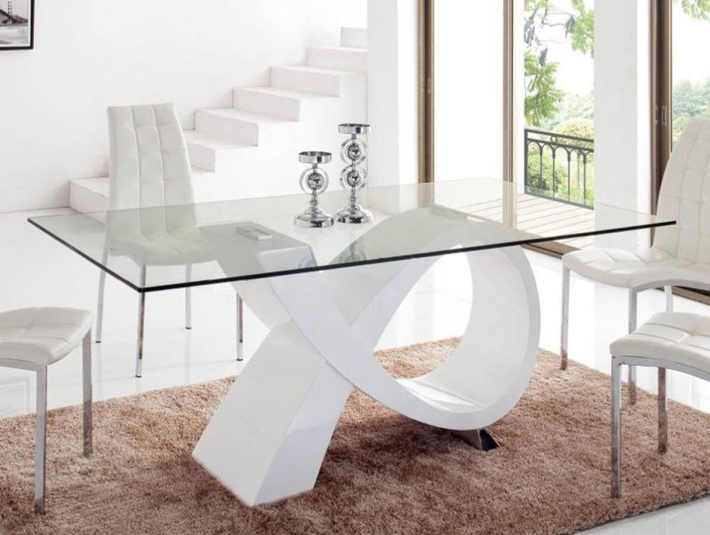White Gloss Dining Table With Curvy Base