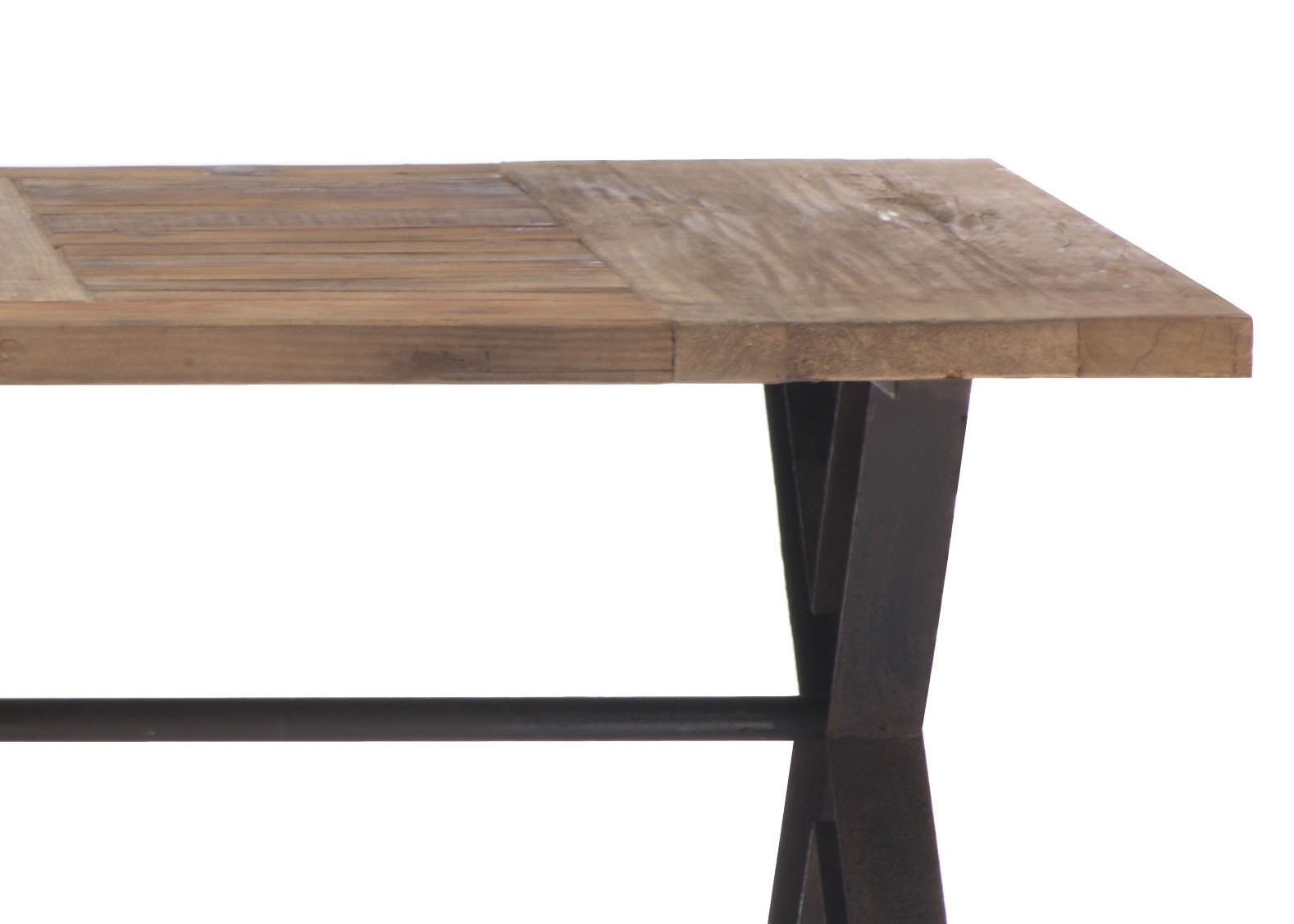 Contemporary trestle legs dining table with intricate top for Modern wooden dining table designs