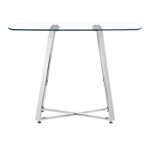 Chromed Steel Base Dining Table With Square Shaped Clear Glass Top Philadelph