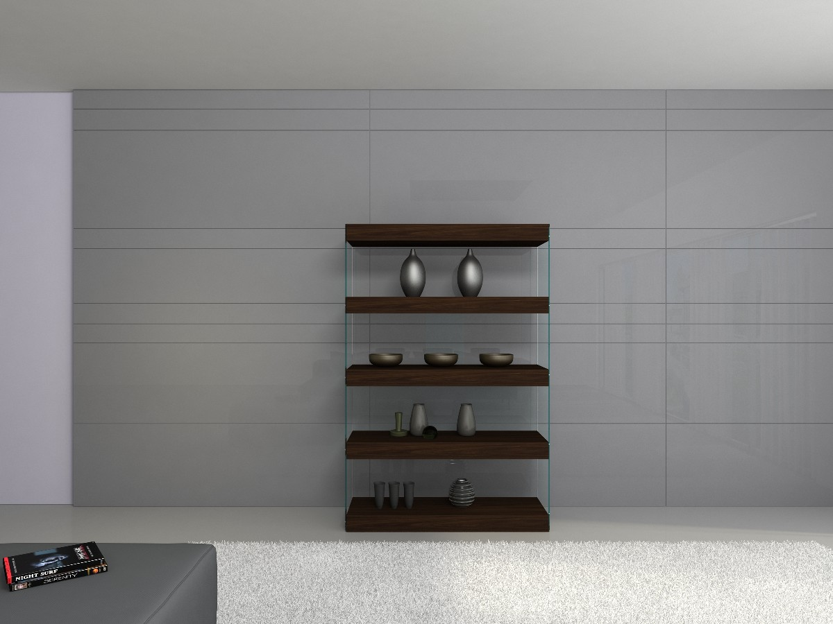 Contemporary curio in timber chocolate with glass shelves for Contemporary display shelves
