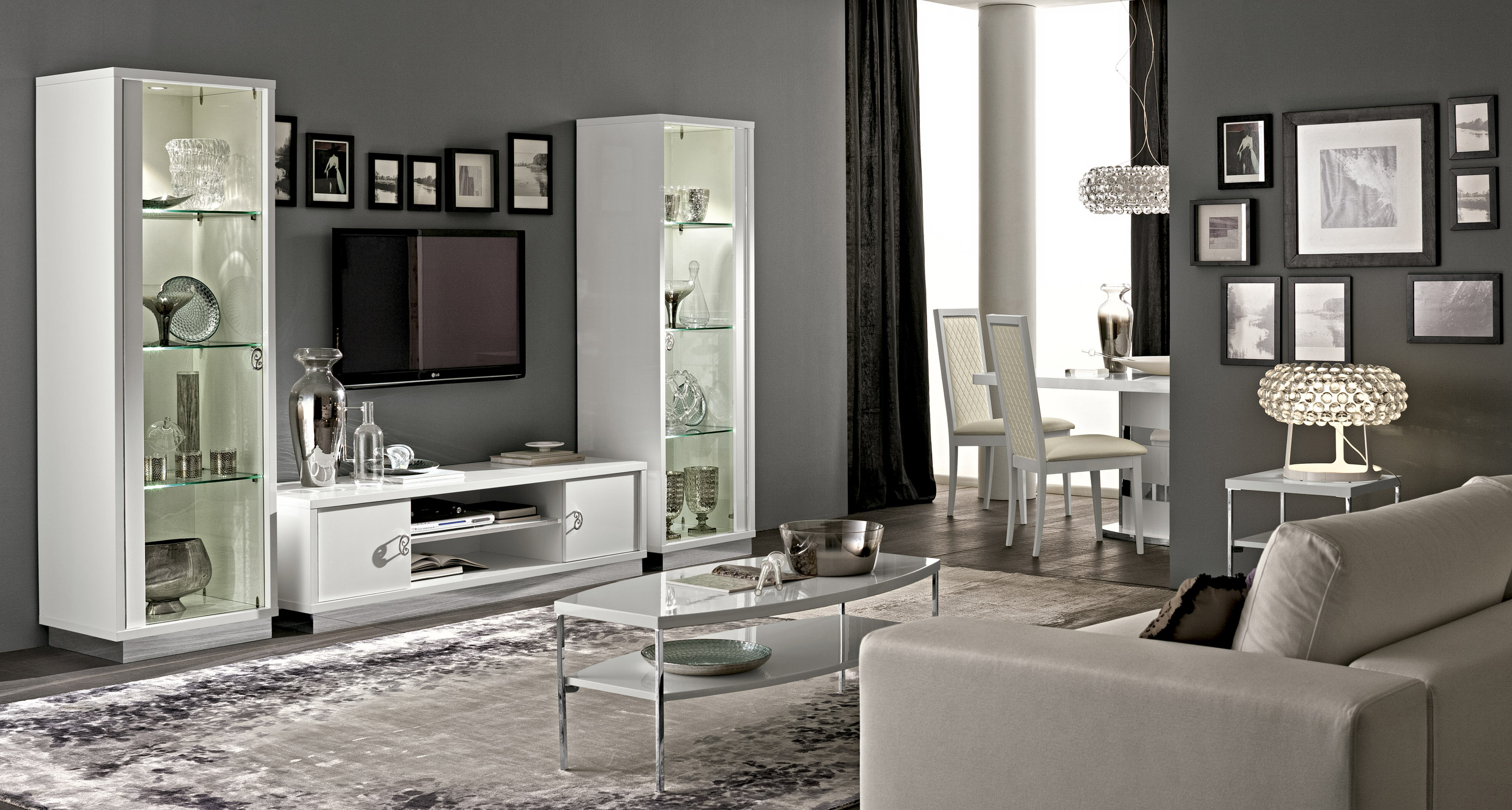 Modern White Gloss Italian Wall Unit With Lights Portland