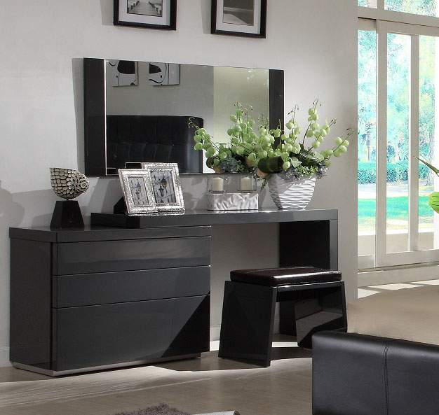 Dark Grey Gloss Clean Look 3pc Vanity Set With A Matching Stool Prime Classic Design Modern