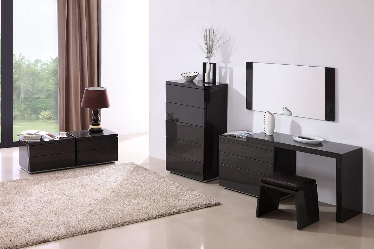 Modern Bedroom Vanities dark grey gloss clean look 3pc vanity set with a matching stool