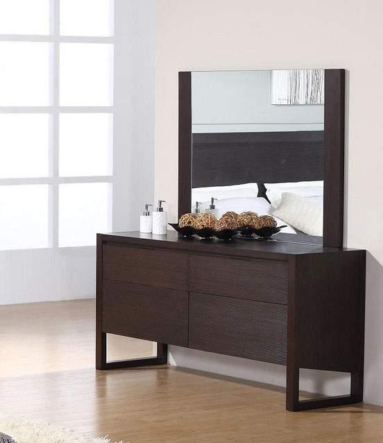 Wood framed wenge contemporary dresser with soft close tracks prime