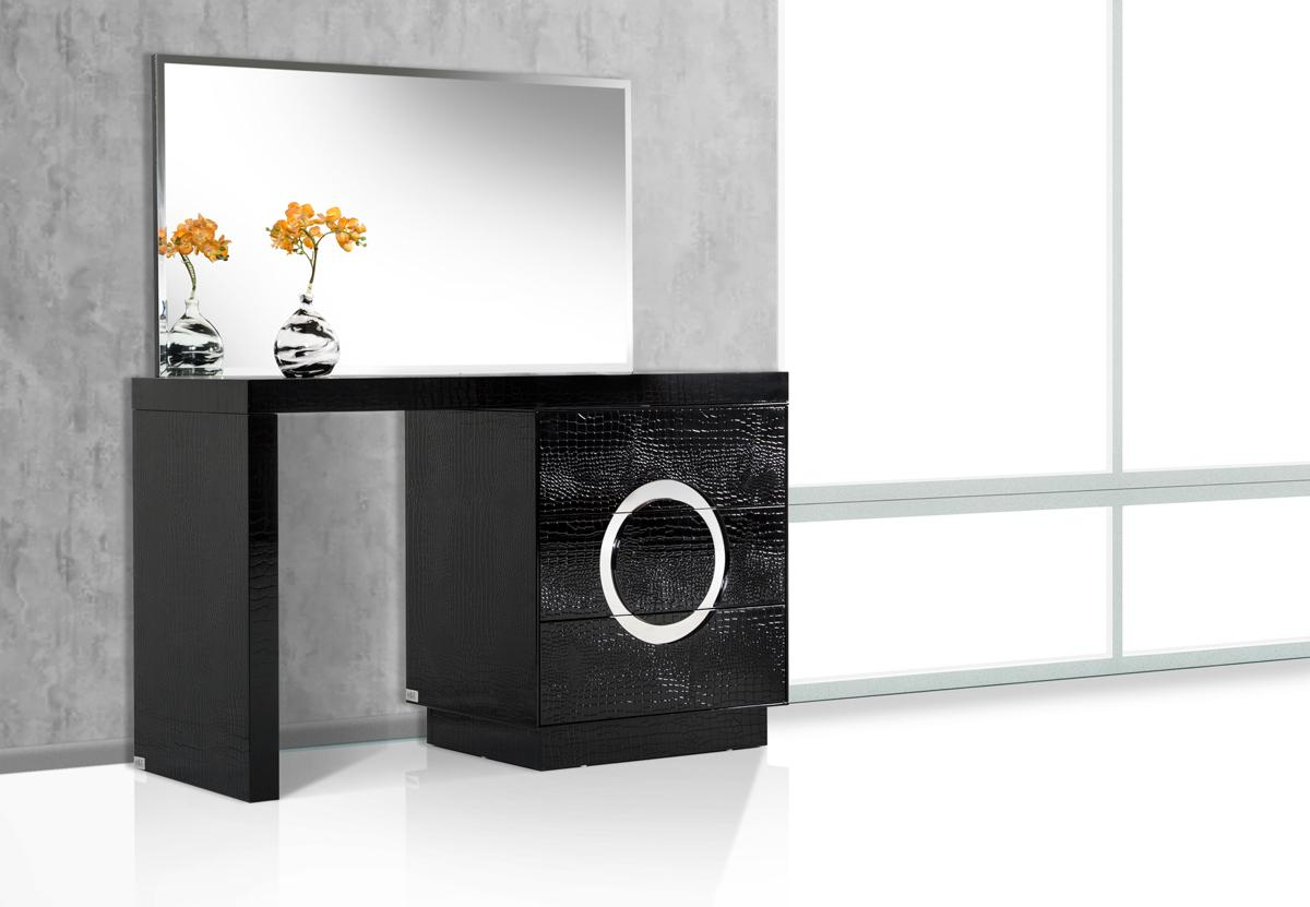 Contemporary Black Crocodile Vanity Table With Mirror Shop