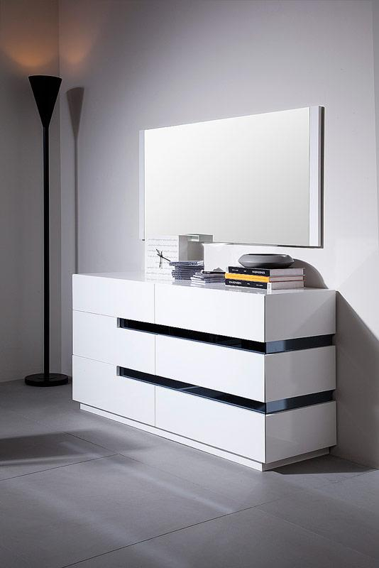 Contemporary White Glossy Dresser With Black Stripes Shop