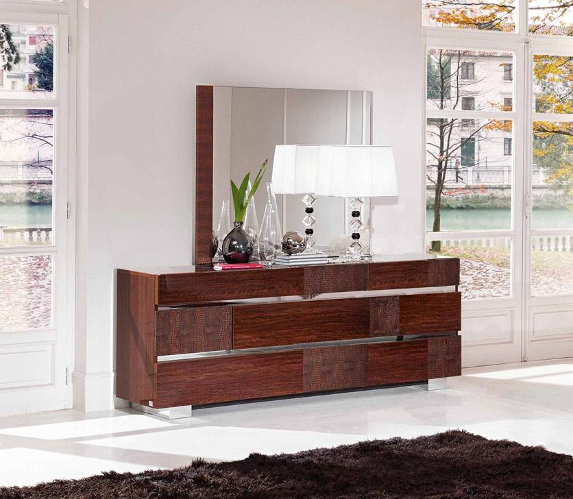 Status Caprice Contemporary Walnut Dresser in Polyester Lacquer