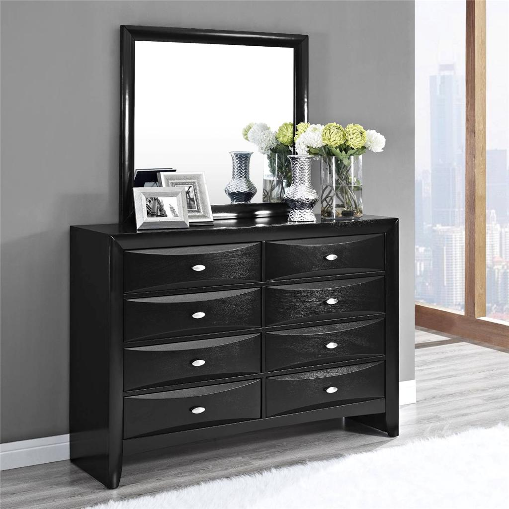 Traditional Black 8 Drawer Dresser With Optional Matching