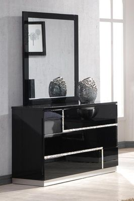black contemporary 6 drawer dresser lacquer finish prime