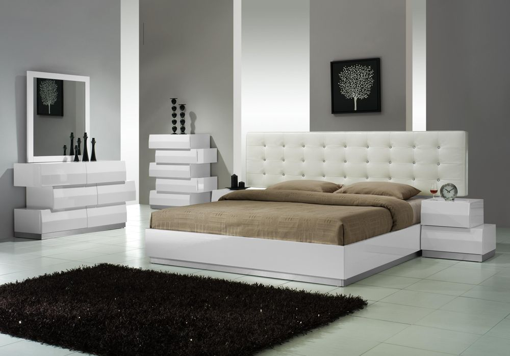 wonderful modern italian bedroom furniture | Milan Contemporary 6-Drawer Dresser in White Lacquer ...