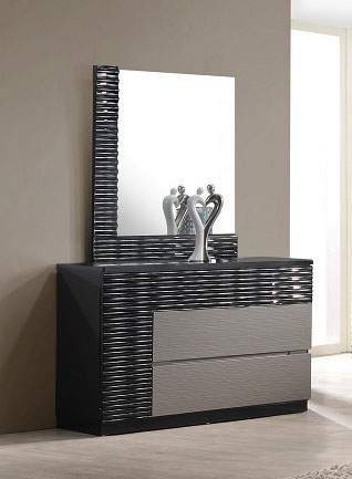 Contemporary Roma Dresser With Black And Grey Lacquer