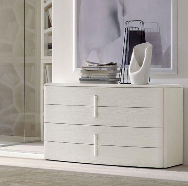 Modern Style Dresser: White Color Italian Four Drawer Dresser With Handles Prime