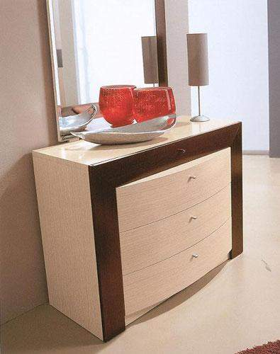 Contemporary Single Dresser In Wenge And Beige Wood Made In Italy Prime Classic Design Modern