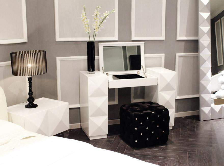 white lacquer contemporary vanity with folding mirror and silky pouf