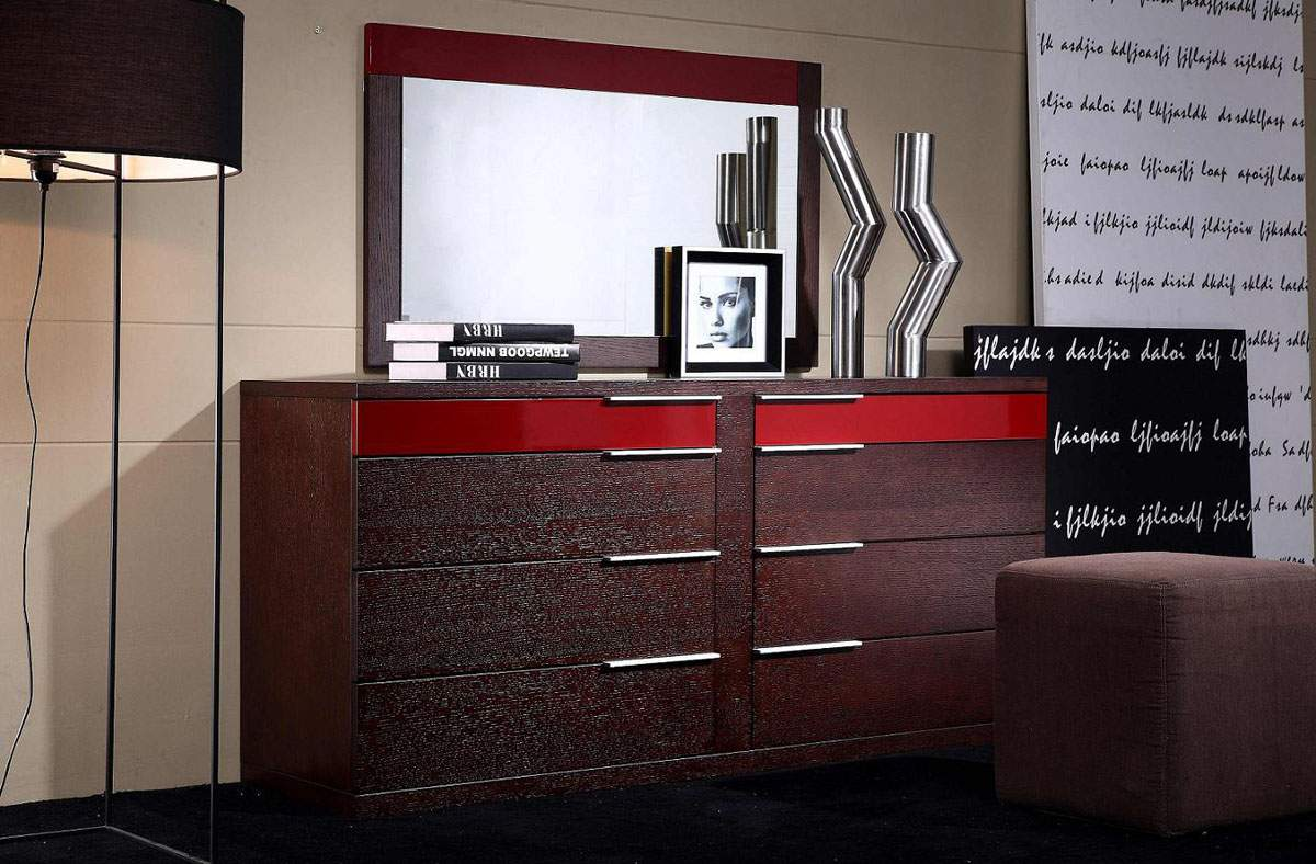 Eight Drawers Dresser In Wenge Wood Grain With Red Details Prime Classic Design Modern Italian