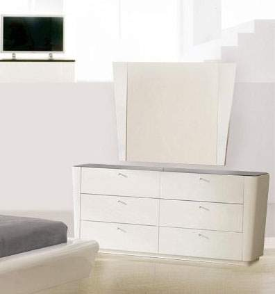 Contemporary white lacquer finish dresser with black glass top prime