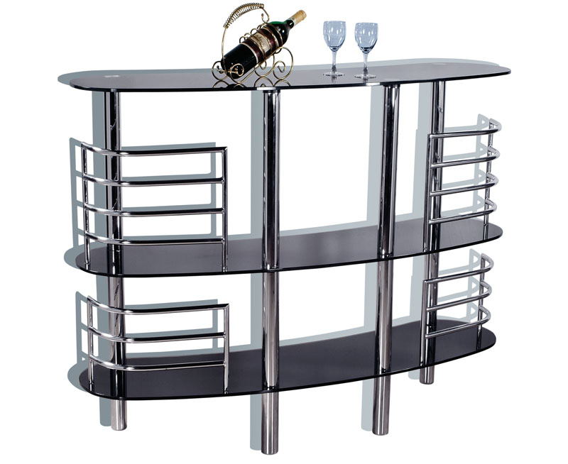 Dark Metal Finish Ultra Contemporary Bar With Black Glass Shelves Prime Classic Design Modern