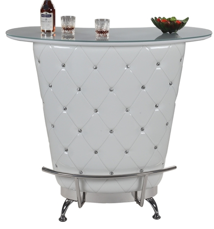 White Leather Bar Unit With Crystals And Storage Space Prime Classic Design Modern Italian And
