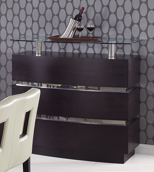Wenge contemporary bar cabinet with glass shelves prime for Table basse bar wenge