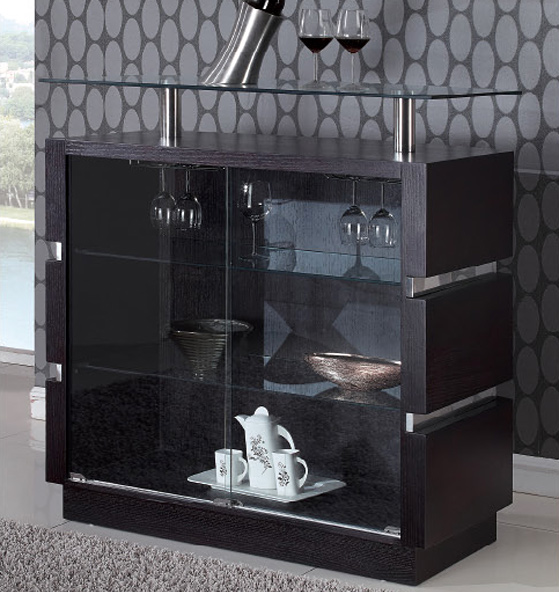 Wenge Contemporary Bar Cabinet with Glass Shelves larger image. Wenge Contemporary Bar Cabinet with Glass Shelves Prime Classic