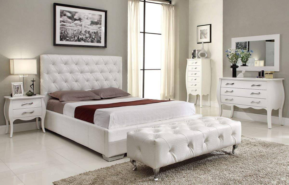 Stylish leather high end elite furniture with extra for White bedroom set with storage