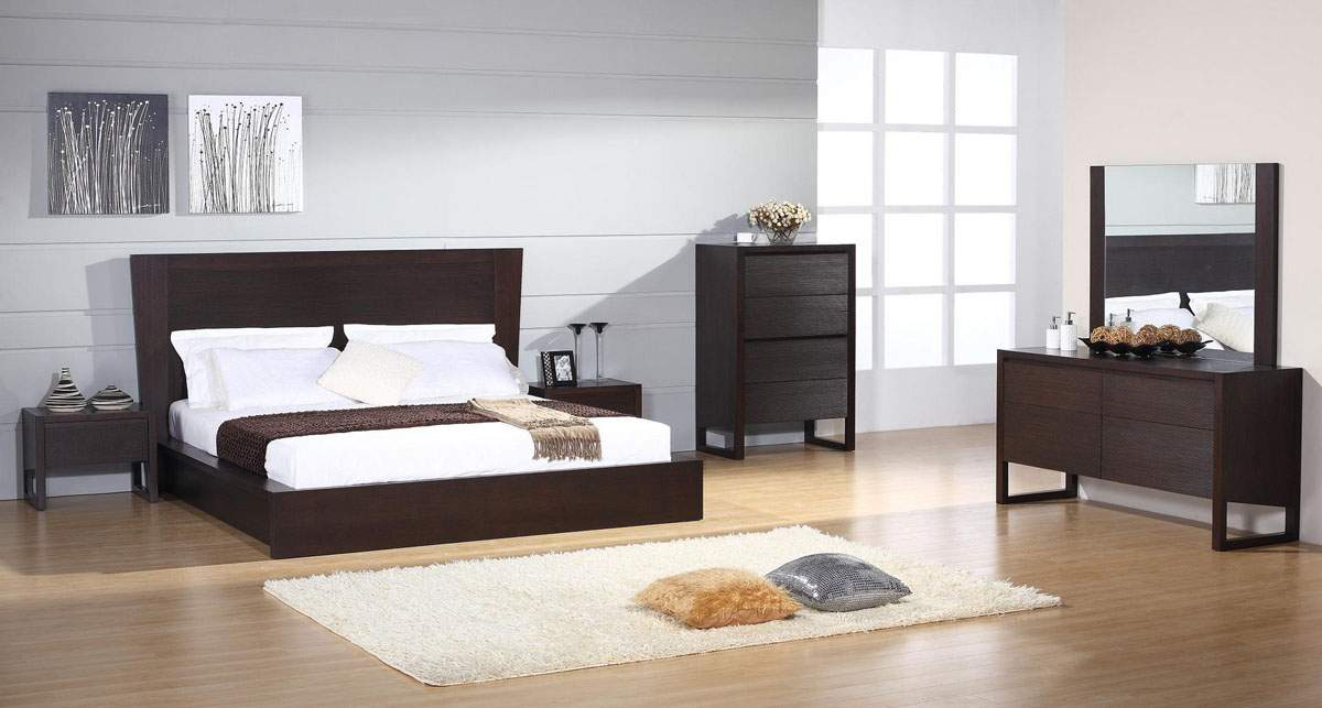Elegant wood modern design bed set mobile alabama bhescape for Chambre contemporaine