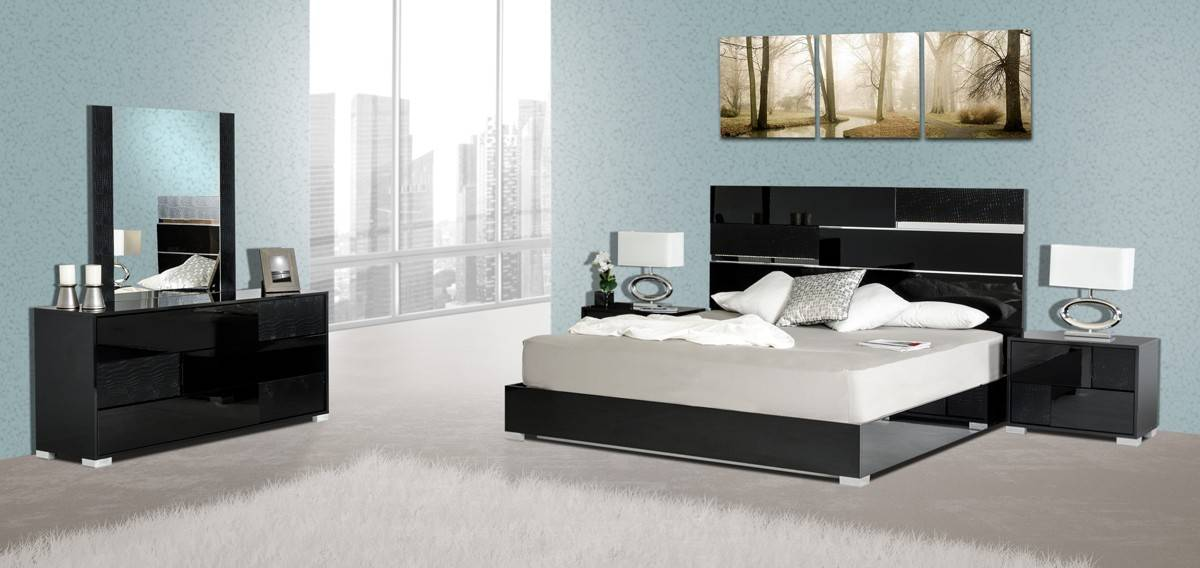 Made In Italy Quality Elite Modern Bedroom Set Escondido California Vig Modrest Ancona Black