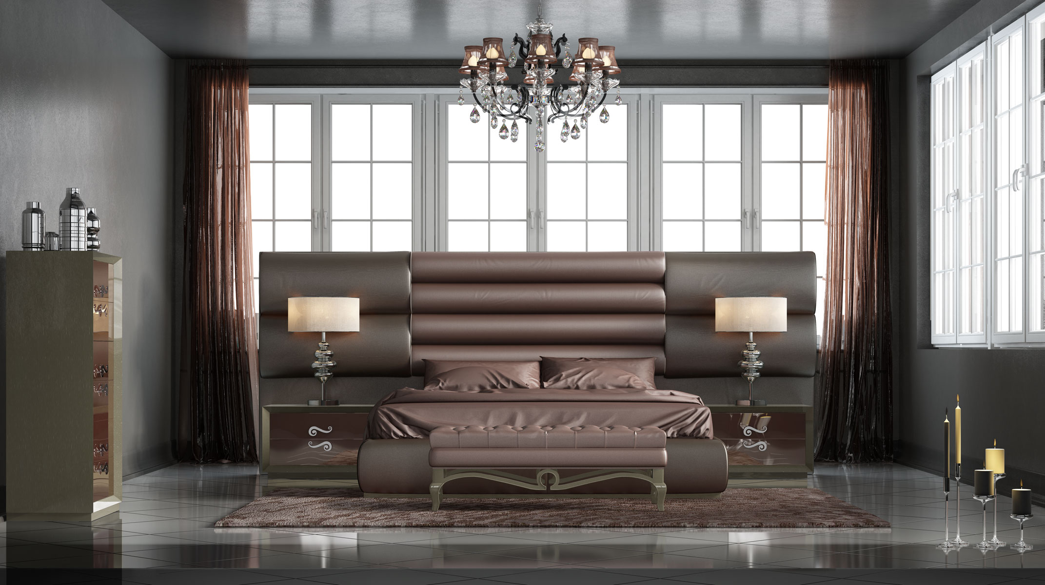 Refined Wood High End Modern Furniture Feat Full Tufted